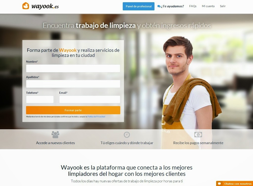 Wayook busca 300 profesionales de limpieza en toda España
