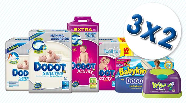 Vuelve el 3×2 en pañales, toallitas y bañadores desechables de Dodot, solo en Bebitus